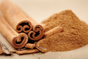 Closeup of cinnamon sticks and powder with selective focus